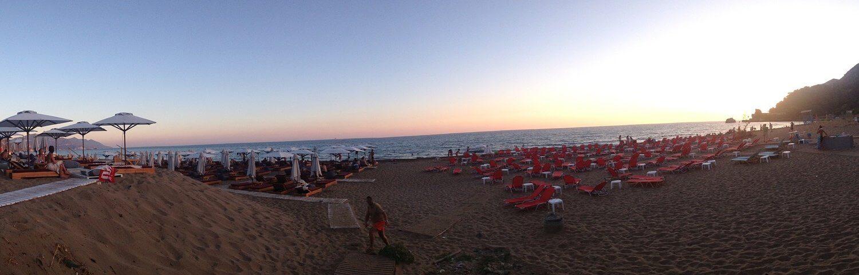 Sonnenuntergang am Glyfada Beach
