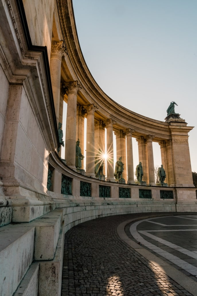 Morning sunburst at Heroes' Square in Budapest, Hungary.