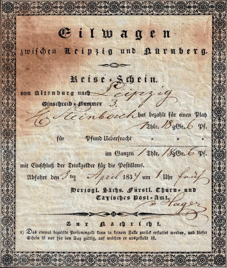 Reise-Schein Geschichte 1832