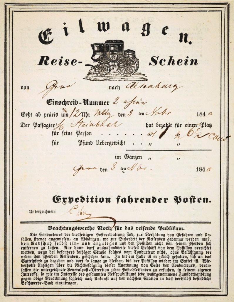 Reise-Schein Geschichte 1840