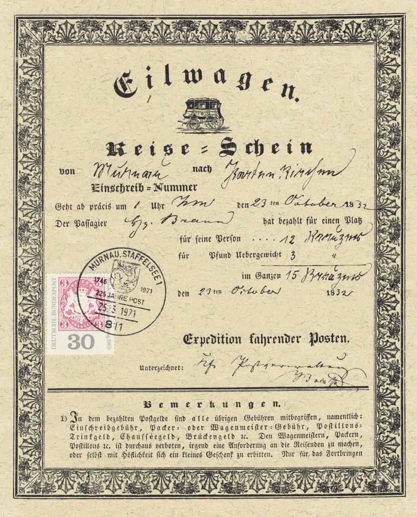 Reiseschein Murnau 1832 Deutsche Bundespost