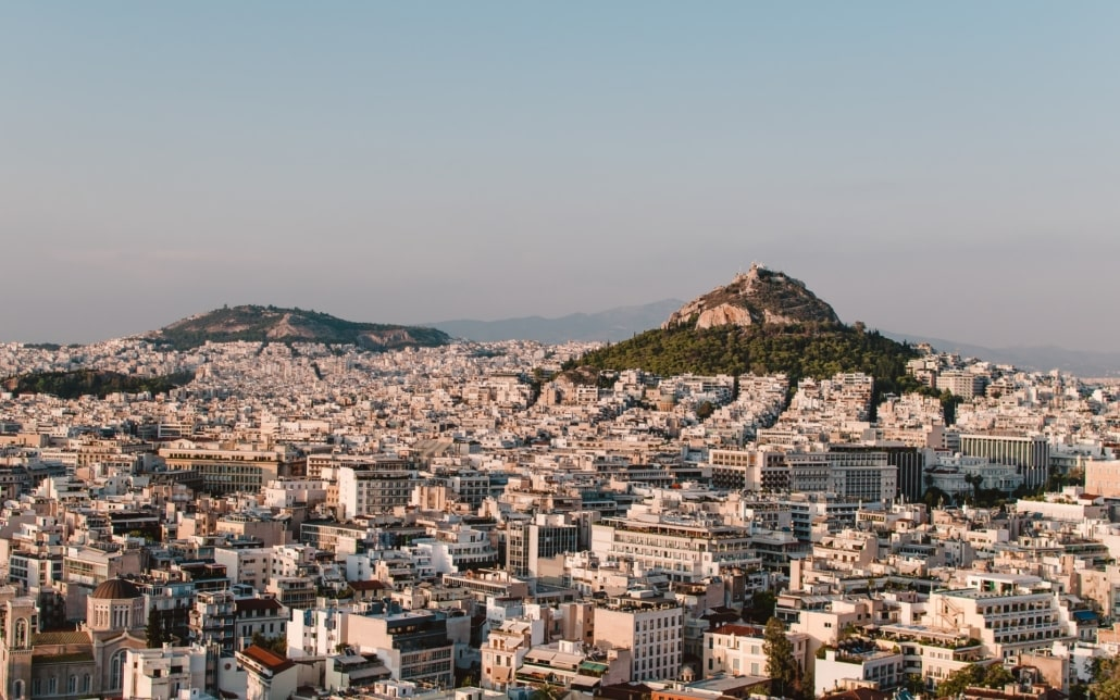 View over Athens City Center, Greece, and the Lycabettus Hill.