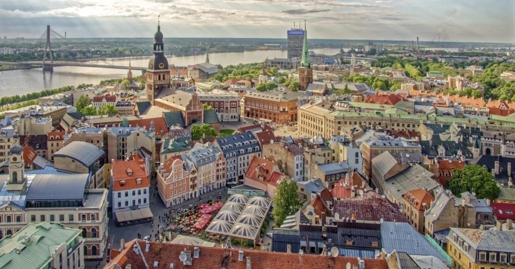 Ausblick auf RIga in Lettland von oben