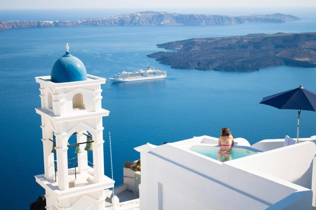 Aussicht über Imerovigli, Greece