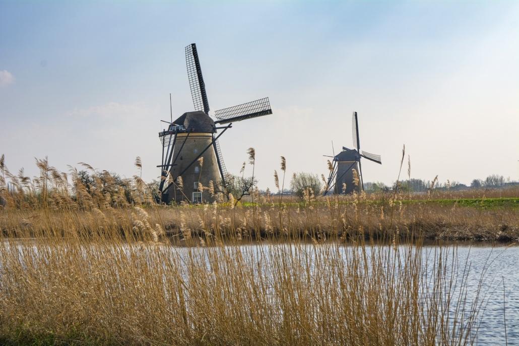 Ausblick über wunderschöne Windmühlen in Holland
